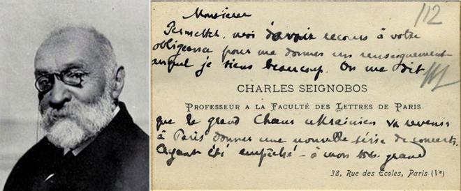 Візитна картка професора Сорбонни Шарля Сеньобоса