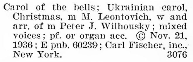 Виписка з каталогу зареєстрованих авторських прав у США, 1936 рік
