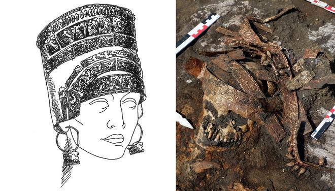Знайдені під час розкопок деталі калафу та його реконструкція