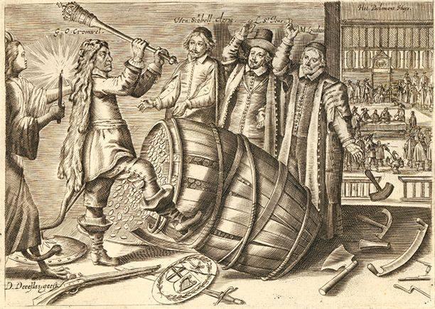 Кромвель розганяє Довгий парламент. Карикатура
