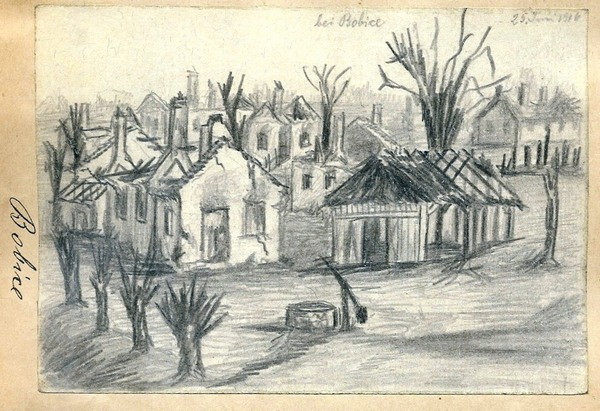 Загальний вигляд спаленого села Бобичі поблизу Володимира-Волинського